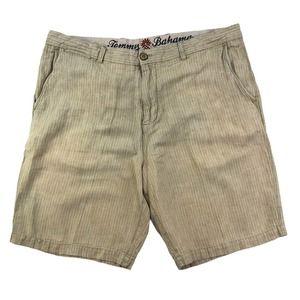Tommy Bahama Men's Striped Shorts Tan Linen Sz 36